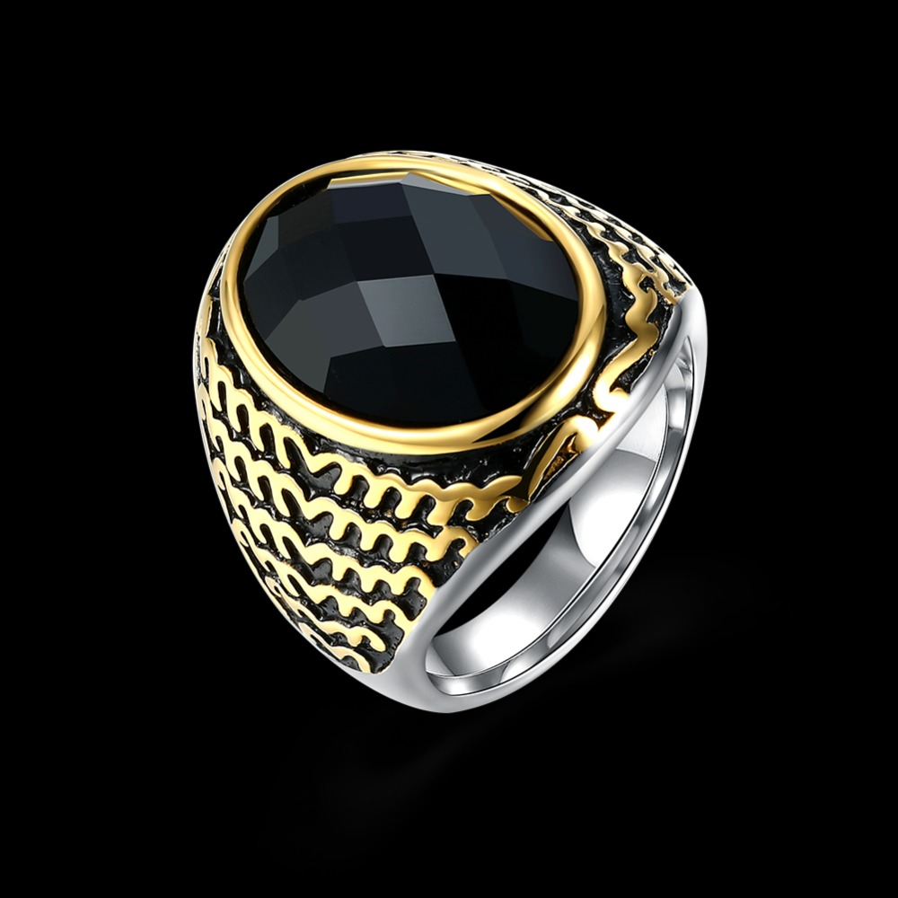 New Gold Color Simple Antique Style Mosaic Aaa Crystal Fashion Popular Men Ring Uninhibited Punk
